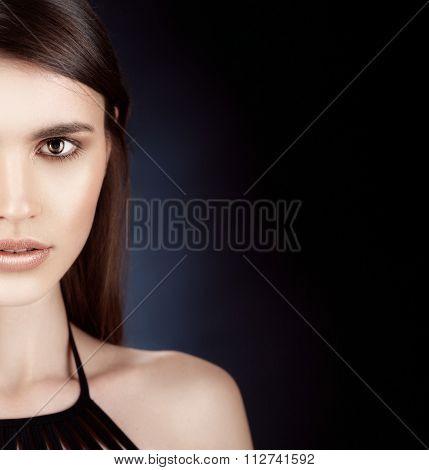Beautiful Woman Portrait Perfect Make Up On Dark Background