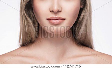 Beautiful Woman Face Portrait Close Up Studio On White Blonde