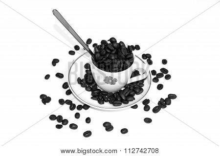 Chicchi Di Caffè Con Il Cucchiaino E Piattino
