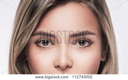 Beautiful Woman Eyes Close Up Studio On White Blonde