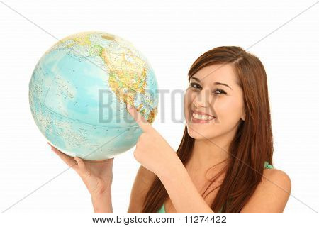 Beautiful Girl With World Globe