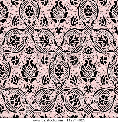 Pink and black lace Seamless abstract floral pattern vintage