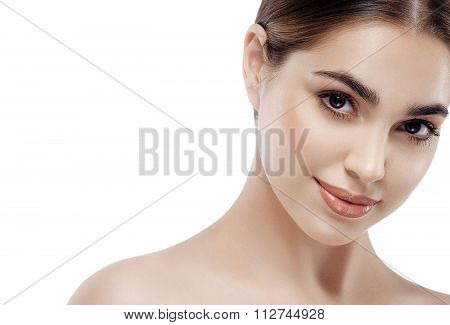 Beauty Woman Face Portrait. Beautiful Spa Model Girl With Perfect Fresh Clean Skin. Brunette Female