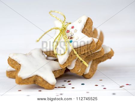 Christmas cake,star form with white glaze