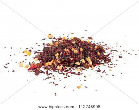 Mixture Herbal Floral Fruit Tea With Petals, Dry Berries And Fruits. Texsture
