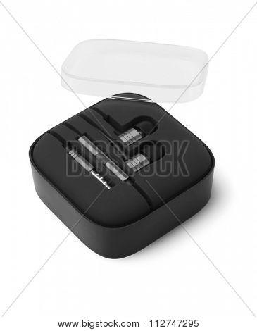 Earphones in Plastic Storage Case on White background