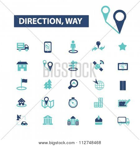 direction, way, map, location, route  icons, signs vector concept set for infographics, mobile, website, application