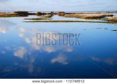 Cloud Reflections In Blue Water