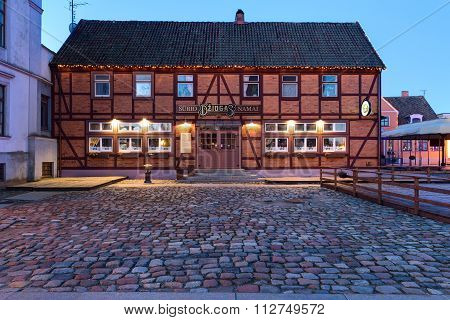 Half-timbered house in the old town of Klaipeda city. Lithuania.