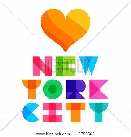 nyc color text typography, t-shirt graphics