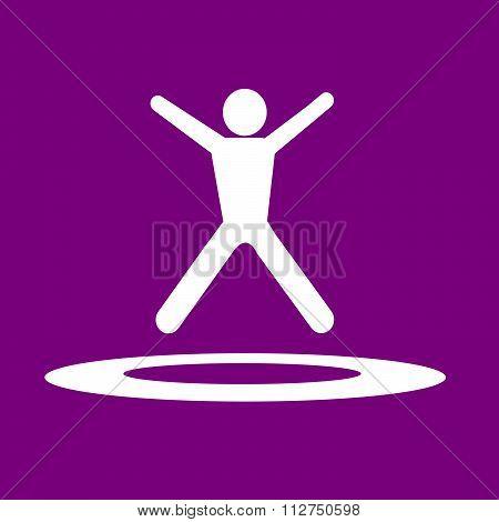 Jumping Trampoline  Icon Illustration Design