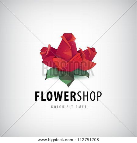 Vector faceted roses, flowers logo, icon isolated