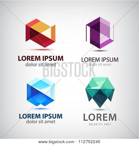Vector set of crystal 3d logos, icons, signs