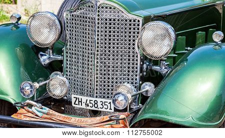 The Front Part Of A Retro Car Packard Convertible Sedan 1934 Year