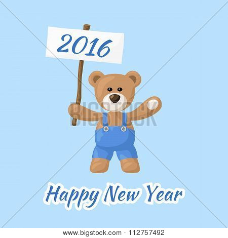 Happy New Year With Teddy Bear