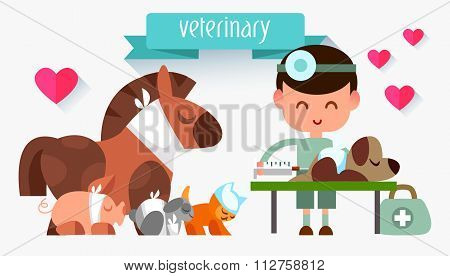 Veterinary illustration style flat. Doctor with animals. People in the style of flat. Profession vet