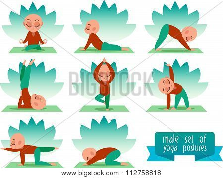 Vector yoga illustration. Yoga set. Yoga exercises. Men yoga. Yoga class, yoga center, yoga studio.