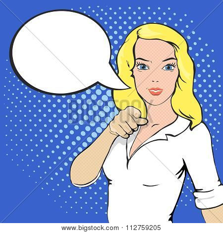 Pop Art illustration of girl with a speech bubble. Comic style woman. Hand pointing finger at viewer