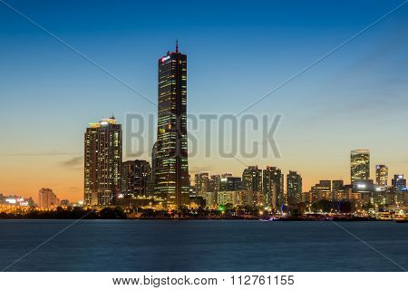 Seoul City At Night And Han River In Seoul,south Korea