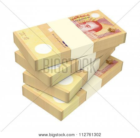 Moroccan dirham bills isolated on white background. Computer generated 3D photo rendering