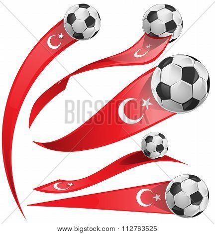 Turkey Flag  Set With Soccer Ball