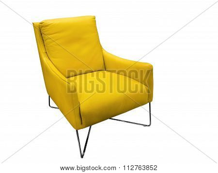 Modern Yellow Leather Armchair