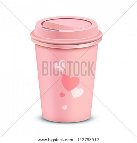 Pink coffee cup. Valentine's card with a coffee cup. Vector illustration