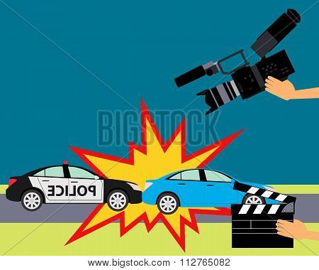Operator holding clapper board during the production of film in the night. Car accident. Vector illu