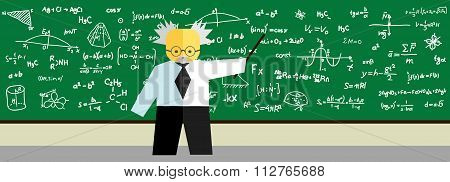 Teacher At Blackboard