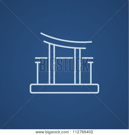 Torii gate line icon for web, mobile and infographics. Vector light blue icon isolated on blue background.