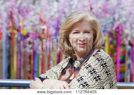 Close up facial portrait of a beautiful senior woman