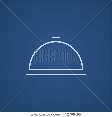 Restaurant cloche line icon for web, mobile and infographics. Vector light blue icon isolated on blue background.