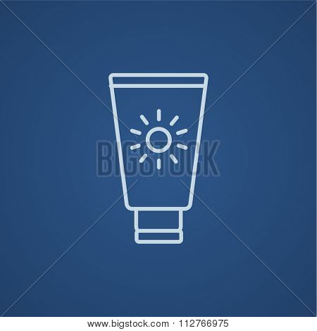 Sunscreen line icon for web, mobile and infographics. Vector light blue icon isolated on blue background.
