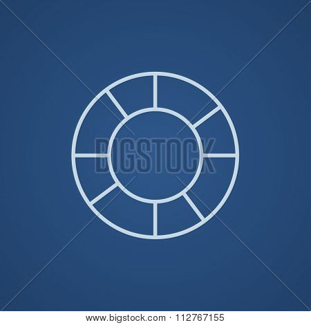 Lifebuoy line icon for web, mobile and infographics. Vector light blue icon isolated on blue background.