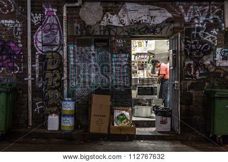 Alleyway kitchen backdoor
