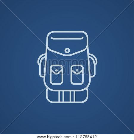 Backpack line icon for web, mobile and infographics. Vector light blue icon isolated on blue background.