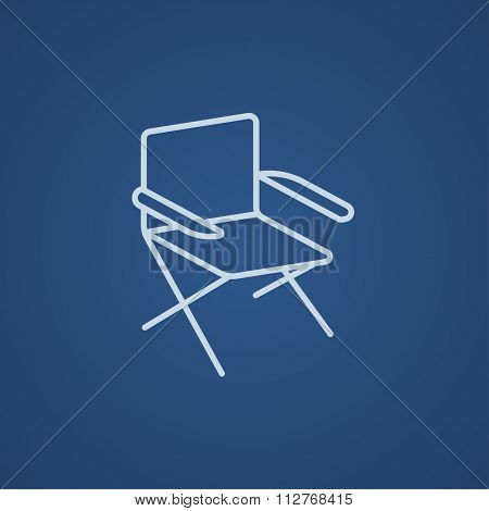 Folding chair line icon for web, mobile and infographics. Vector light blue icon isolated on blue background.