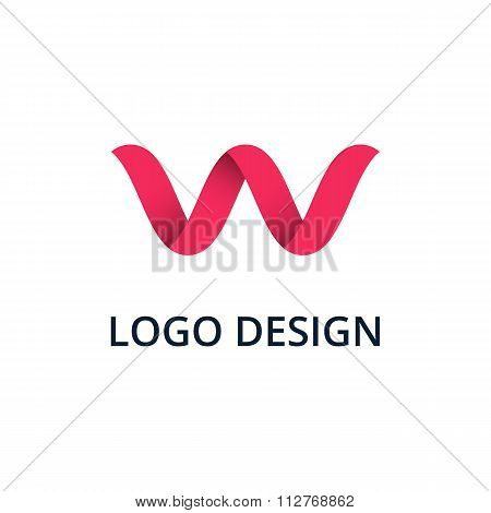 Vector illustration letter logo w