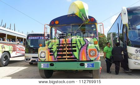 Colorful tour bus in Aruba