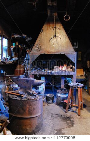 Old forge. forge in the Middle Ages