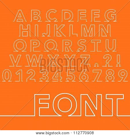 Vector illustration of a linear font.