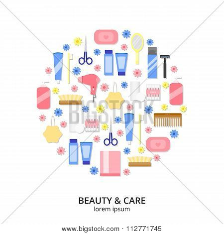 Flat beauty icons in circle on white background.