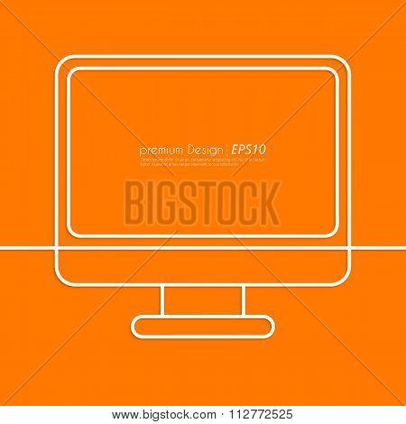 Stock Vector Linear icon computer