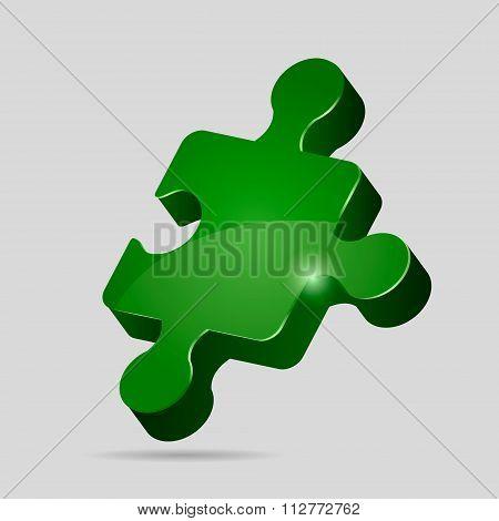Green 3D puzzle piece