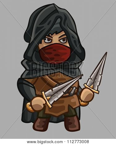 Medieval game character assassin. Vector illustration