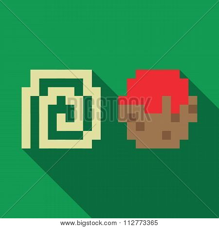 Spaghetti and Meatball dynamic duo pixelated flat design icon