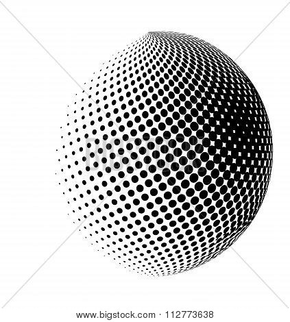 Halftone Globe, Sphere Vector Logo Symbol, Icon, Design. Abstract Dotted Globe Illustration Isolated