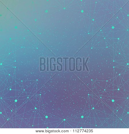 Geometric background molecule and communication for your design. Connected lines with dots .Vector i