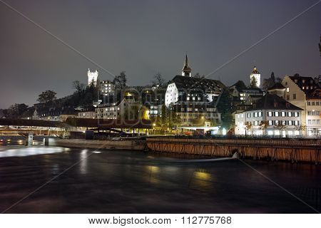 Night panorama Lucern and Reuss River, Canton of Lucerne