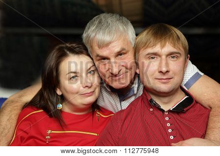 Father With His Son And Daughter